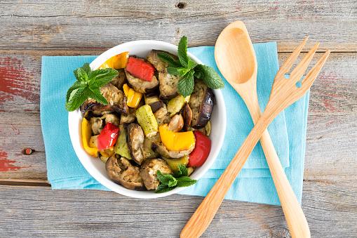 Bowl of succulent Turkish grilled vegetables
