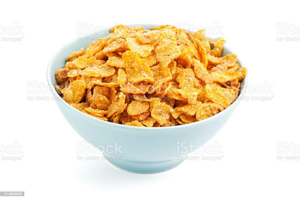 Bowl of sugarcoated corn flakes stock photo