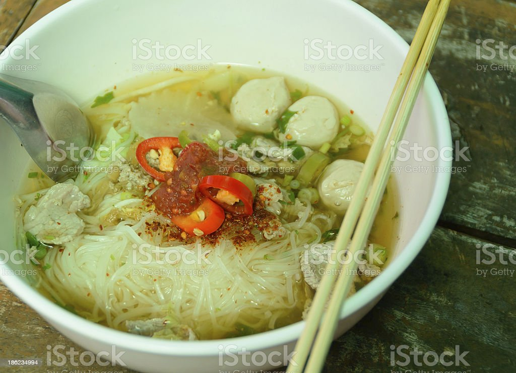Bowl Of Thai Style Pork Noodle Soup Stock Photo - Download Image Now