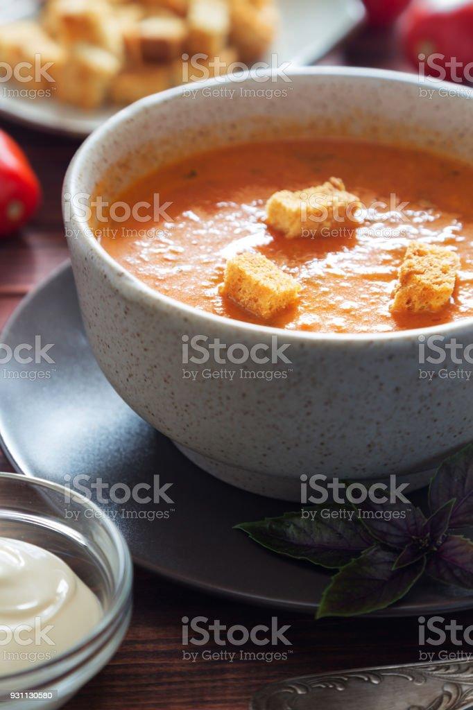 Domates çorbası tost ve fesleğen ile - Royalty-free Acı Biber Stok görsel