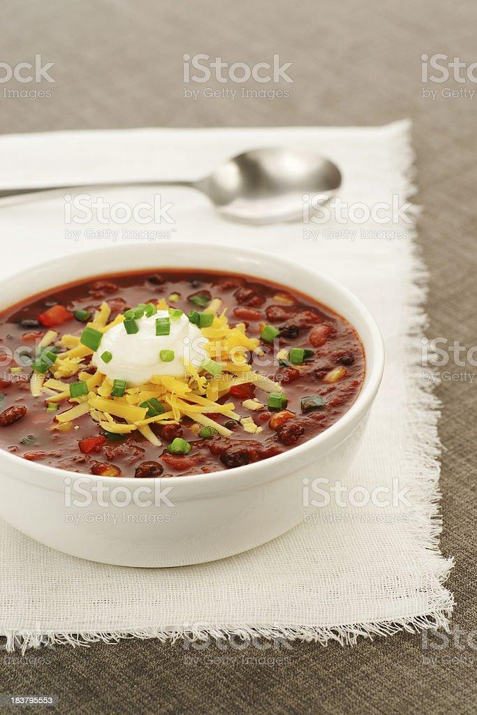 Bowl of Vegetarian Chili stock photo