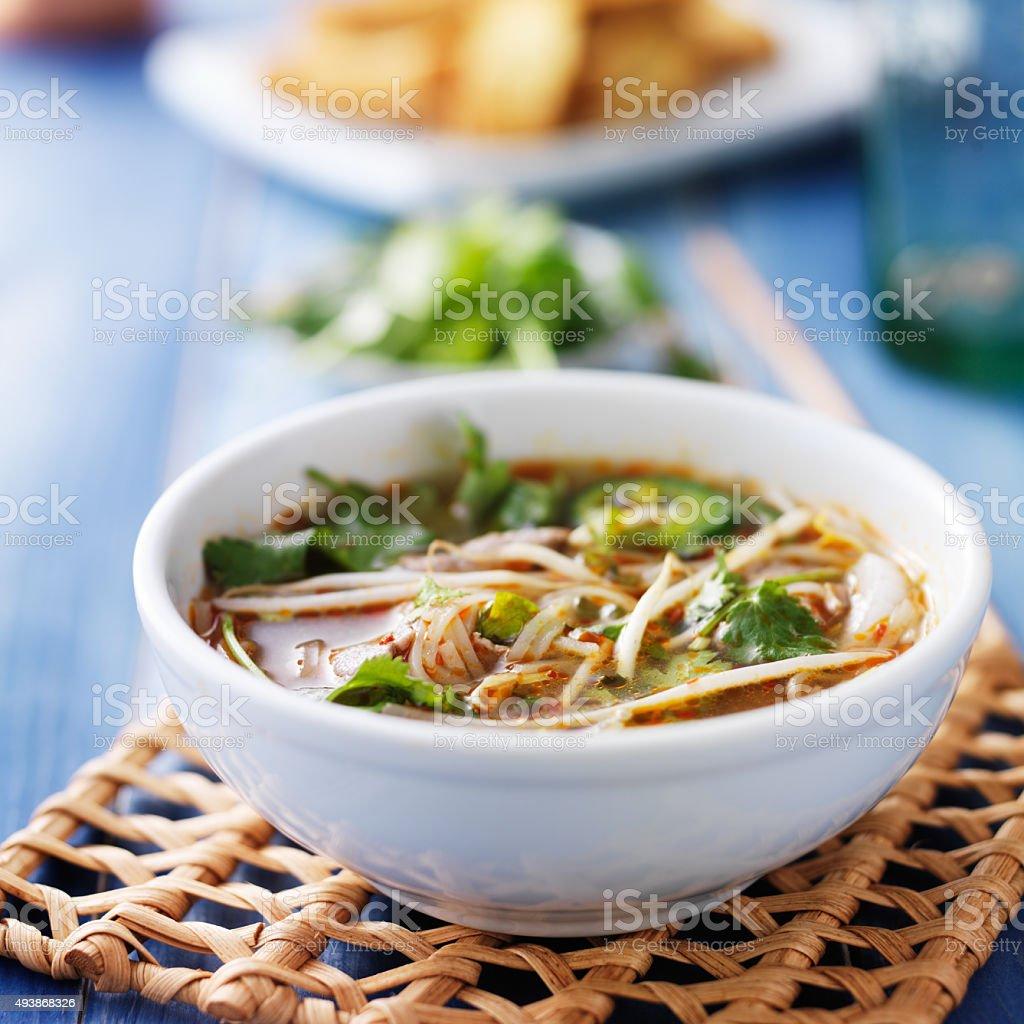 Schale mit vietnamesischem Pho Tai Rindfleisch-Gemüsesuppe – Foto