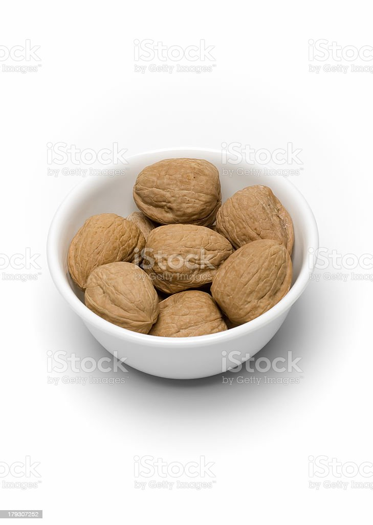 Bowl of Walnuts on White II royalty-free stock photo