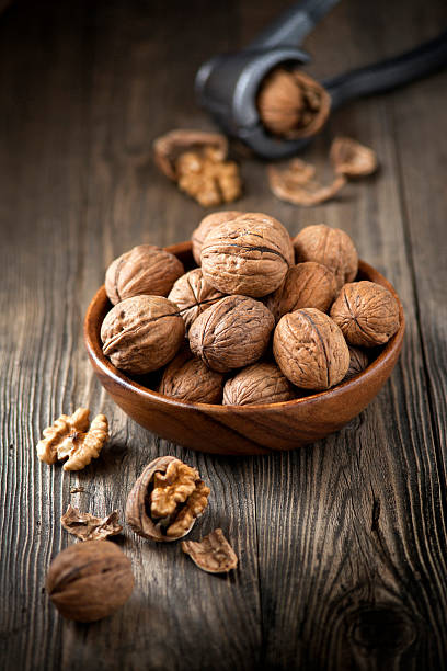 Bowl of walnuts stock photo