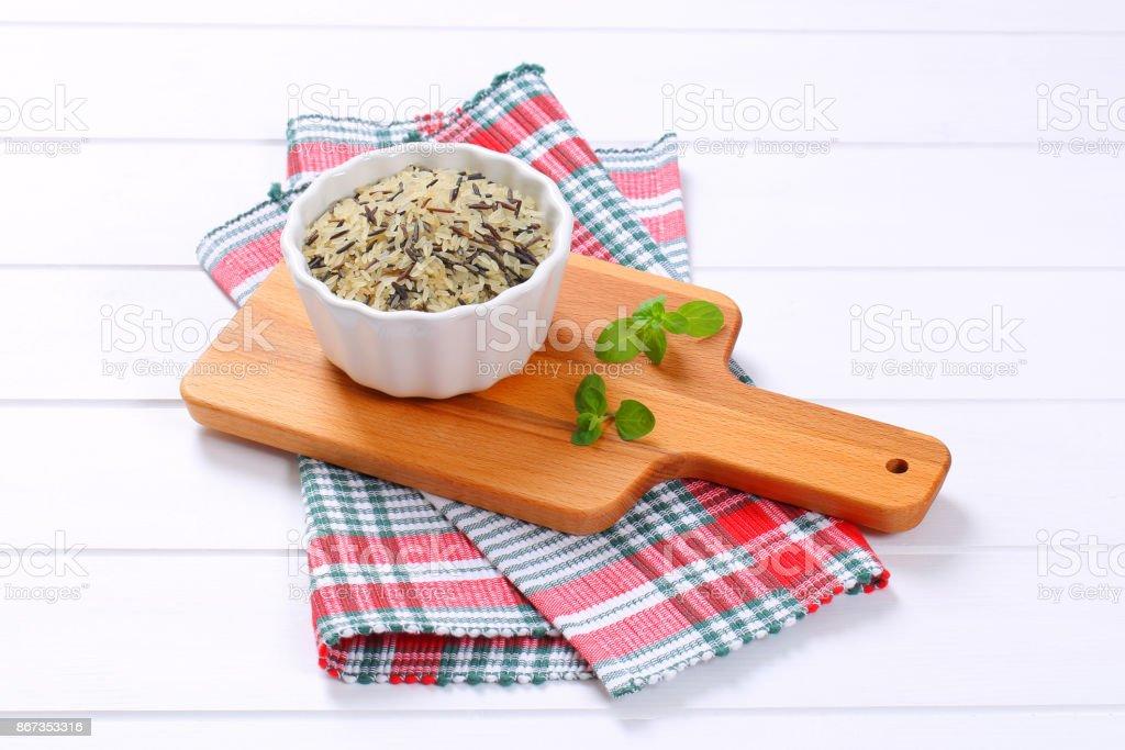 bowl of wild rice stock photo