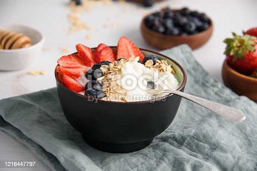 Bowl of yogurt with berries and oatmeal