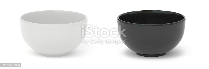 istock Bowl white and  black set 3d rendering 1273261834