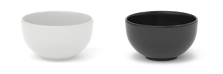 bowl, isolated on white, black, white, 3d rendering