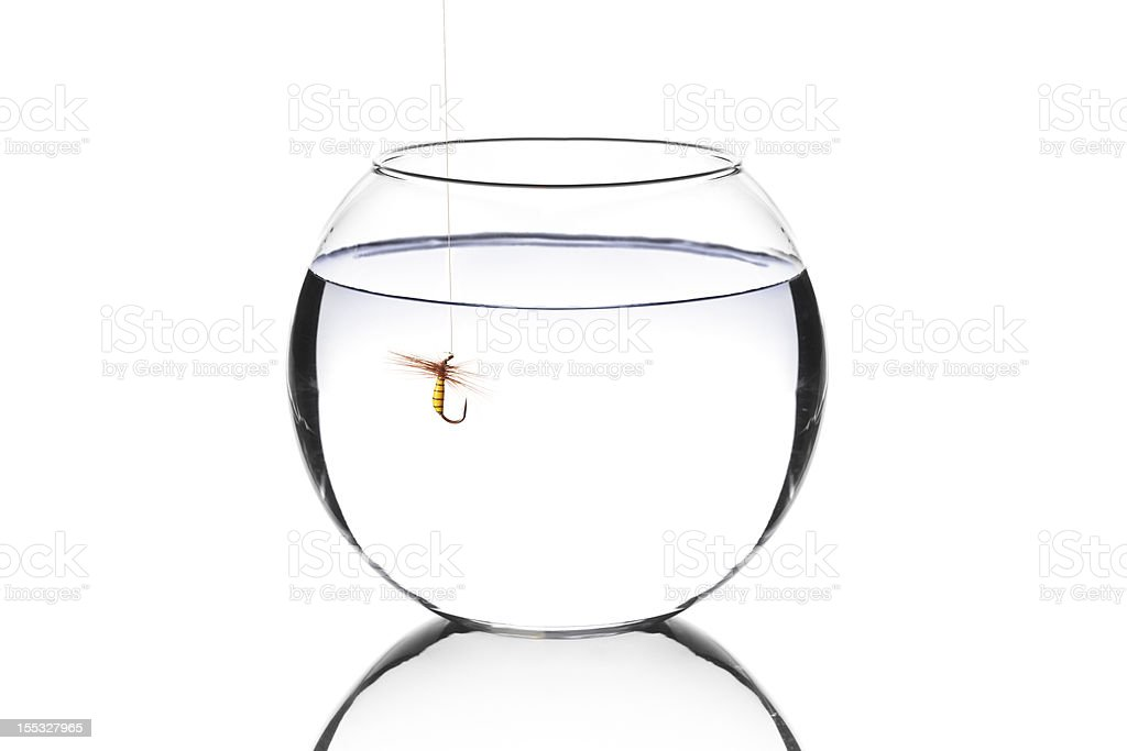 Bowl with a fishing hook inside royalty-free stock photo