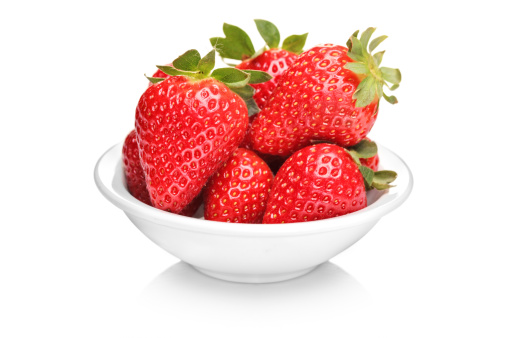 Bowl with bunch of strawberries