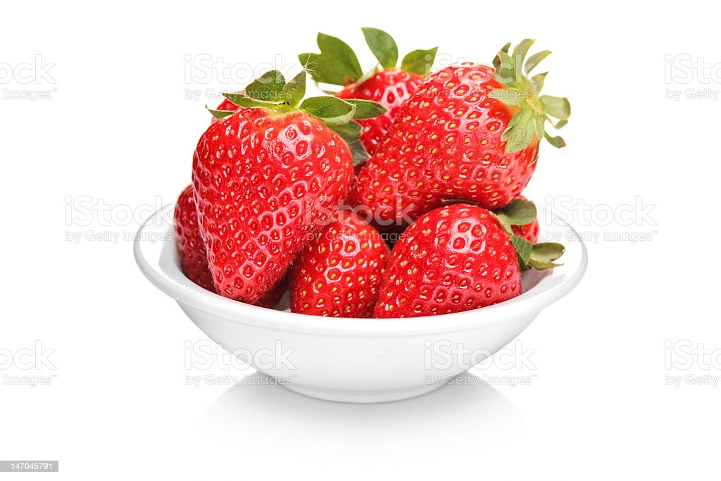 Bowl with bunch of strawberries stock photo