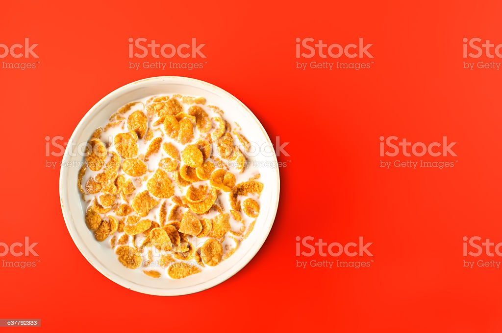 bowl with cornflakes stock photo