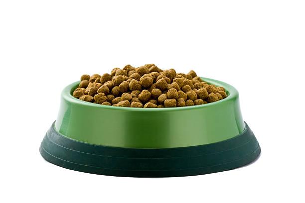 schale mit getrockneten speisen für hund oder katze auf weiß - hundenapf stock-fotos und bilder
