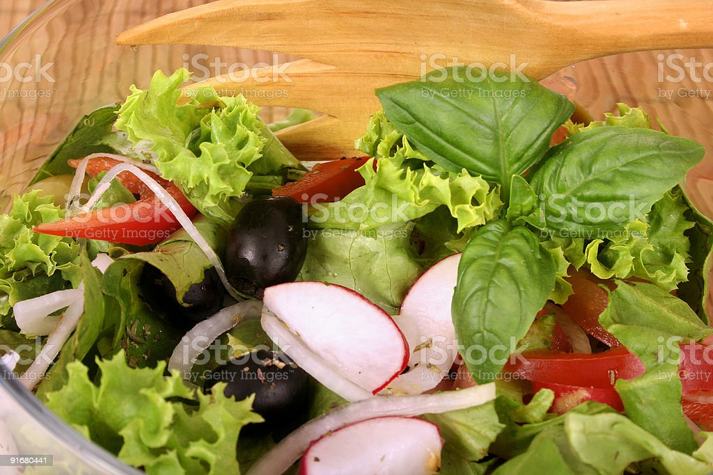 Bowl with fresh salad and tomato royalty-free stock photo