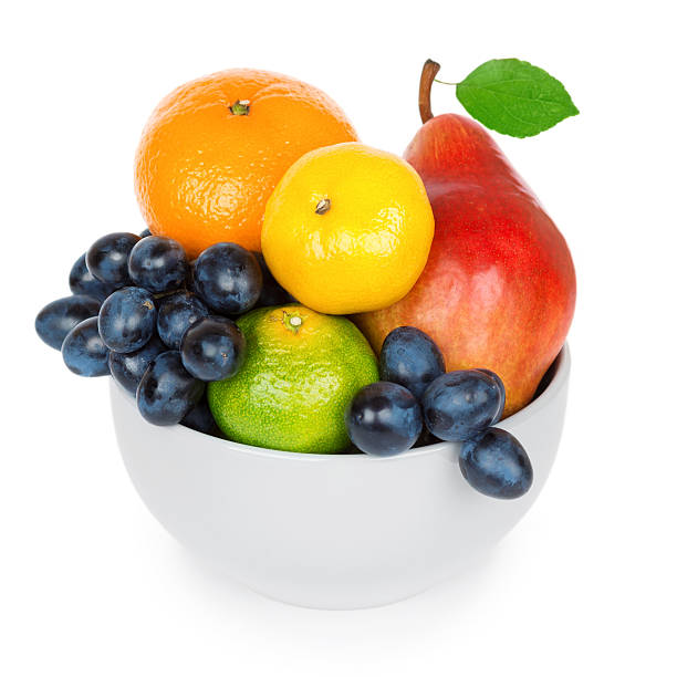 schüssel mit früchten - obstkorb stock-fotos und bilder