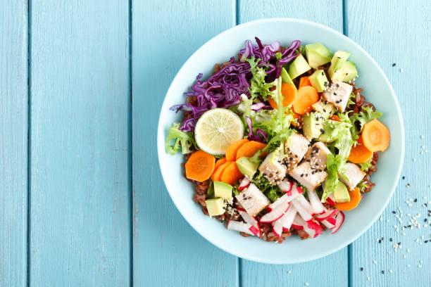 Schale mit gegrilltem Hühnerfleisch, brauner Reis und Salat von Avocado, Rettich, Kohl, Grünkohl, Karotten und Salat aus frischem Gemüse Blätter. Gesunde und leckere Ernährung Mittagessen. Ansicht von oben – Foto