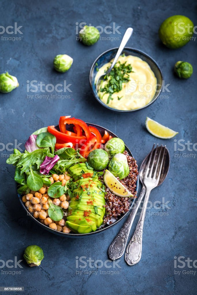 Bowl with healthy salad stock photo