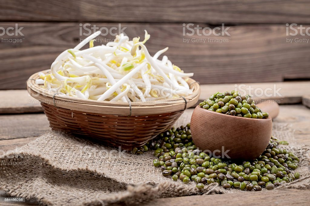 Bowl with Mungbean Sprouts stock photo