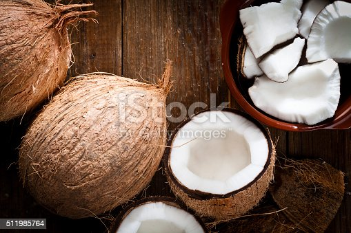 istock Bowl with organic coconut and fresh coconut 511985764