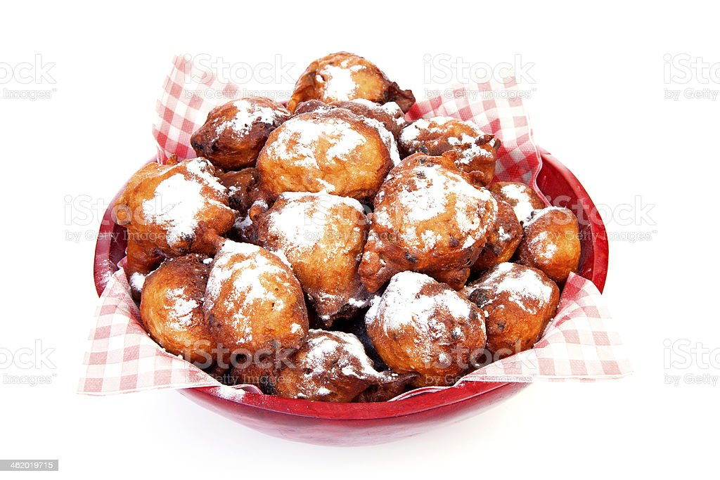 Bowl with Pile of Dutch donut also known as oliebollen stock photo