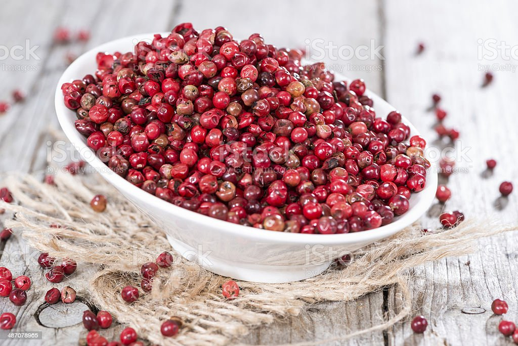 Bowl with Pink Peppercorns royalty-free stock photo