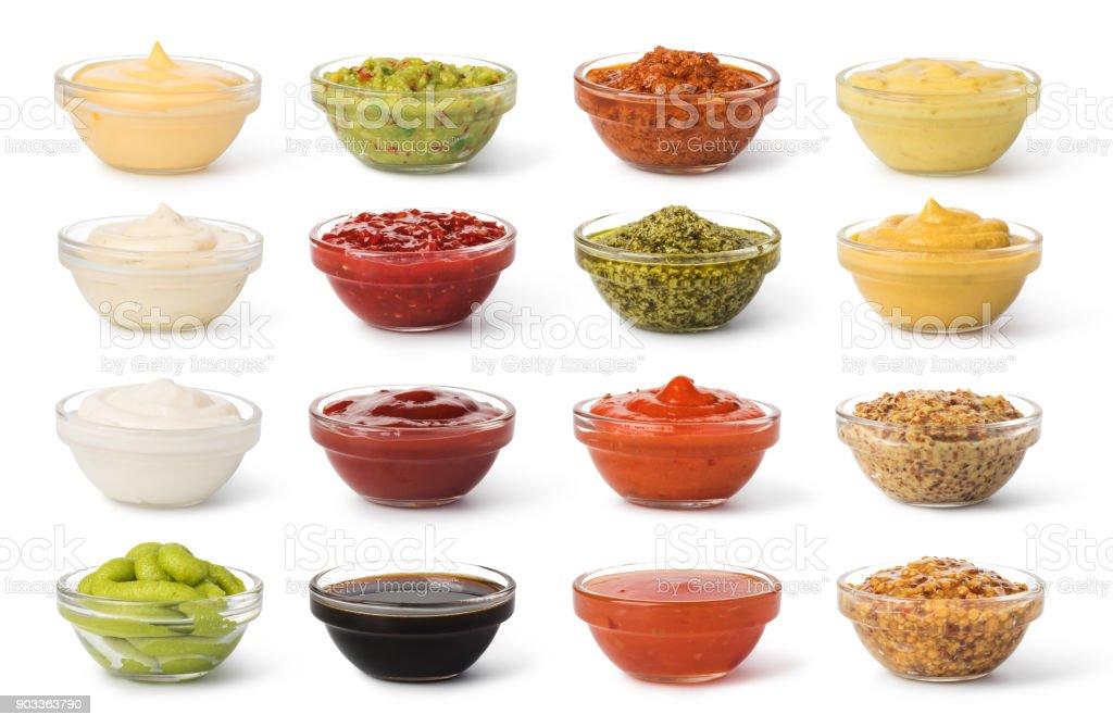 Bowl with sauce set stock photo