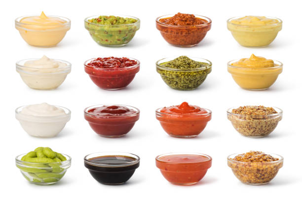 Bowl with sauce set stock photo