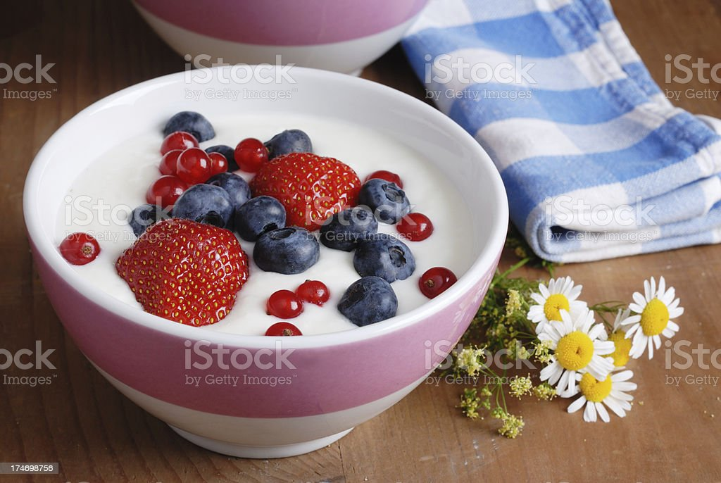 bowl with yogurt and berries royalty-free stock photo