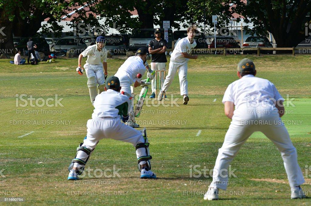 Bowler Bowling to a Batsman stock photo