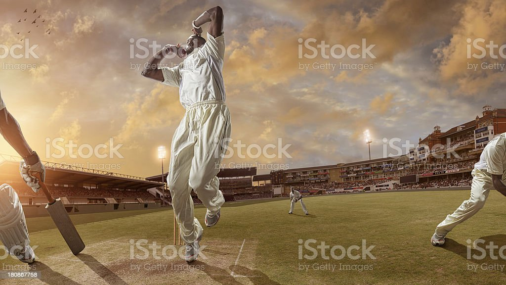 Bowler Delivering a Fast Ball During a Cricket Game stock photo