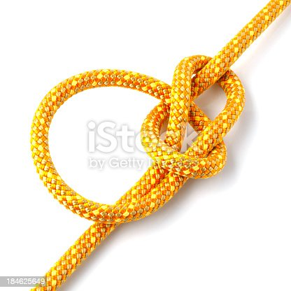 Yellow climbing rope with a bowline knot.