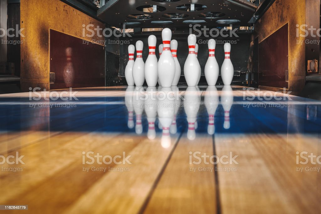 Bowling Alley Ball And Pins Stock Photo - Download Image Now