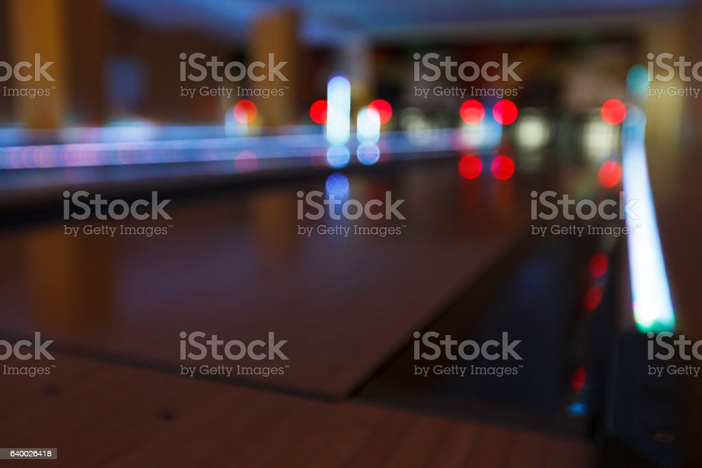 Bowling alley blurred, bokeh interior background stock photo