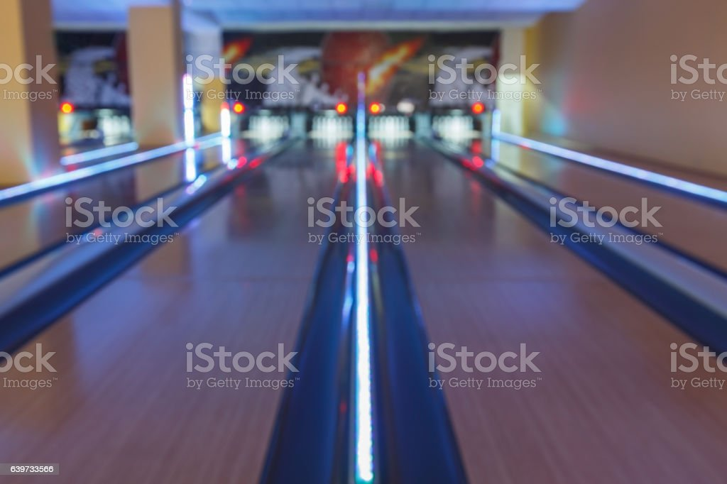 Bowling alley interior background stock photo