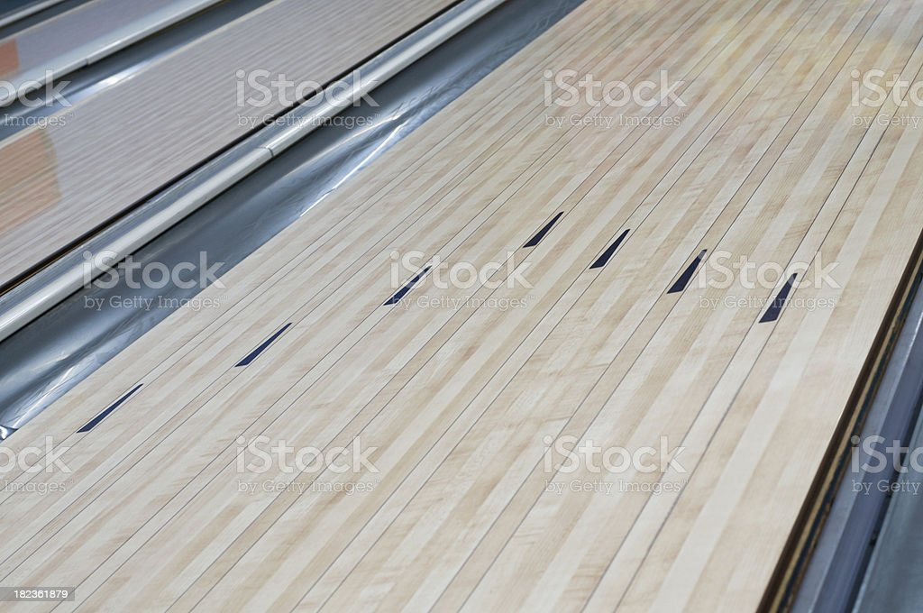 Bowling Alley Lane Arrows Close-Up stock photo