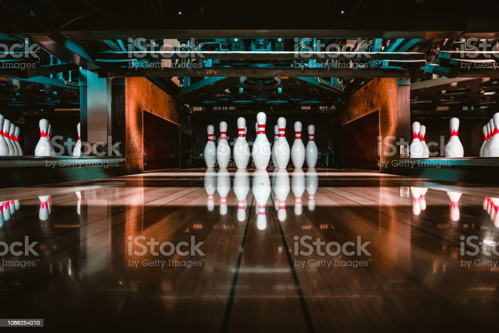 bowling alley. pins. stock photo