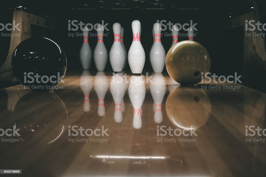 bowling alley. rivalry. stock photo