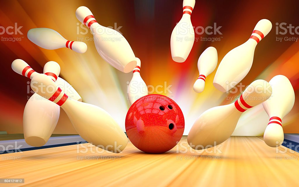 Bowling background pins and bal. Strike stock photo