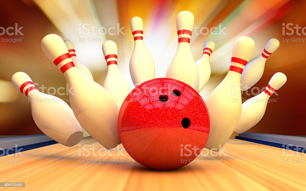 Bowling background pins and ball. Strike stock photo