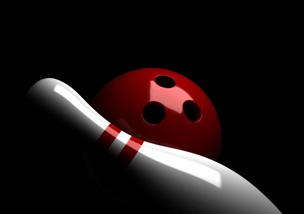 Bowling ball and pin stock photo
