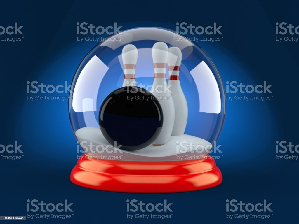 Bowling ball and pins inside christmas glass ball on blue background....