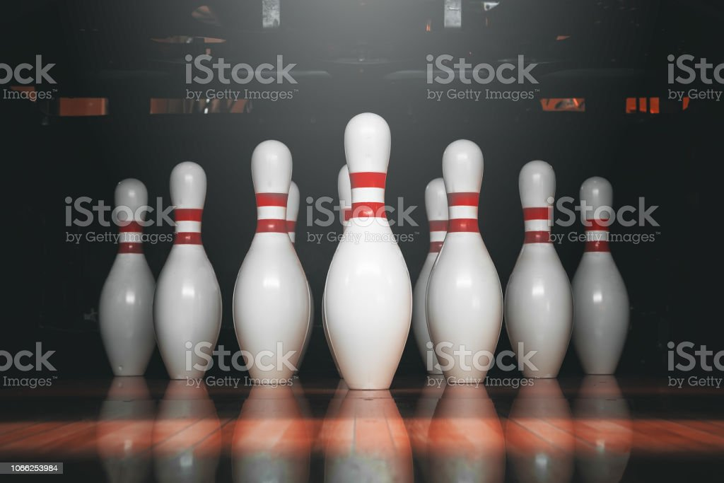 bowling ball and pins stock photo