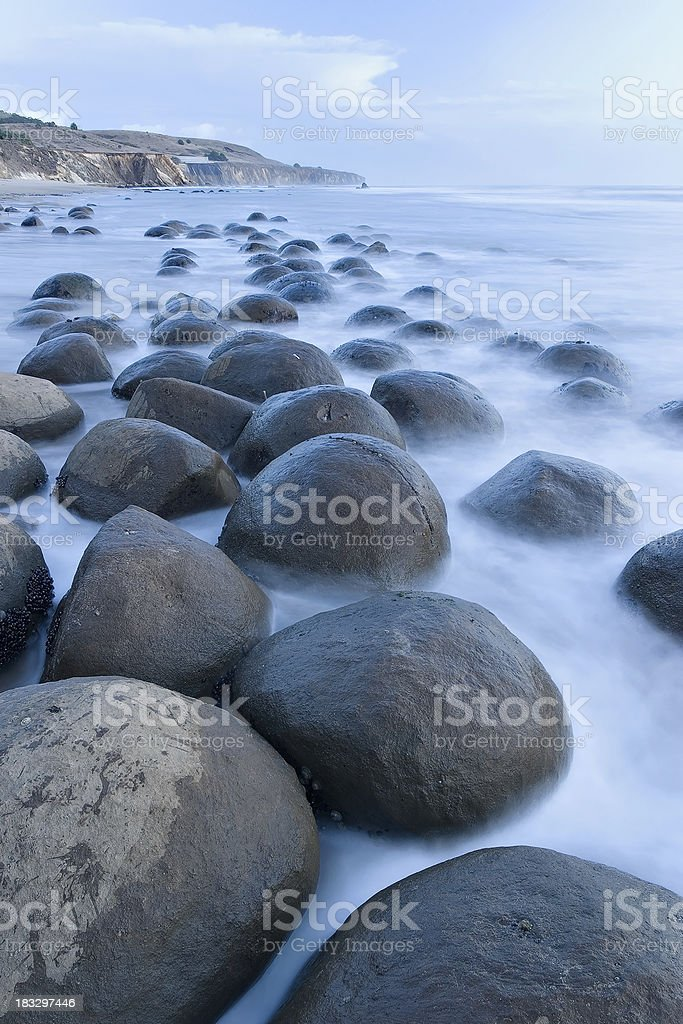 Bowling Ball Beach at dusk stock photo