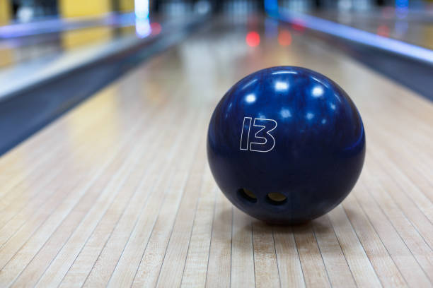 Bowling ball closeup on lane background stock photo