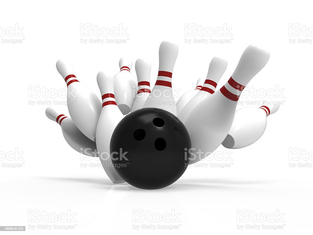Palla da Bowling si arresta in modo anomalo all'pin - foto stock