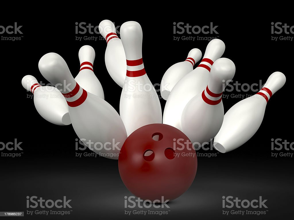 Bowling Ball Crast into Pins royalty-free stock photo