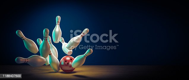concept of fun and sport. Bowling ball hits the pins by doing a strike. 3d render image.