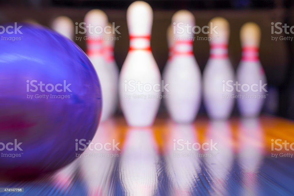 Bowling - ball in motion - focus on ball
