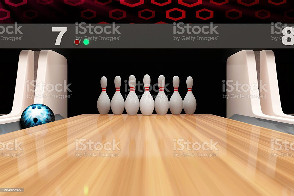 Bowling Ball is Rolling on Wooden Lane stock photo