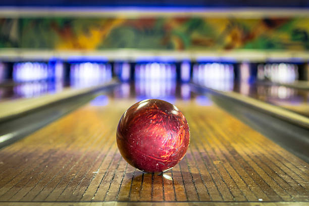 Bowling ball on bowling alley stock photo